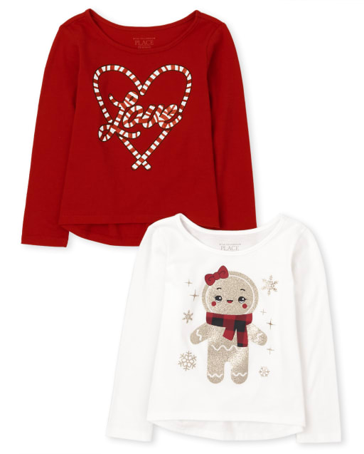 Toddler Girls Long Sleeve Winter Graphic Top 2-Pack