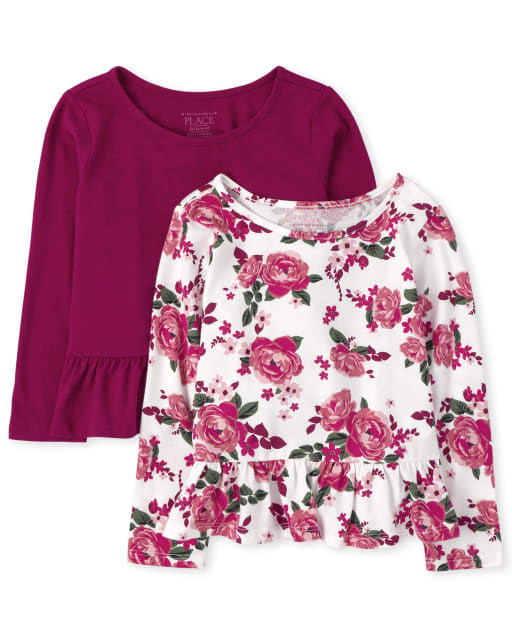 Toddler Girls Long Sleeve Floral Print And Solid Peplum Top 2-Pack