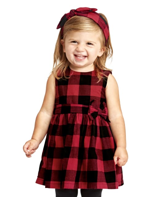 Toddler Girls Matching Family Sleeveless Buffalo Plaid Twill Fit And Flare Dress