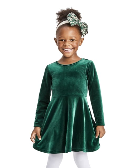 Baby And Toddler Girls Long Sleeve Velour Bow Back Dress