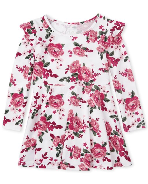 Baby And Toddler Girls Long Sleeve Floral Print Knit Ruffle Skater Dress
