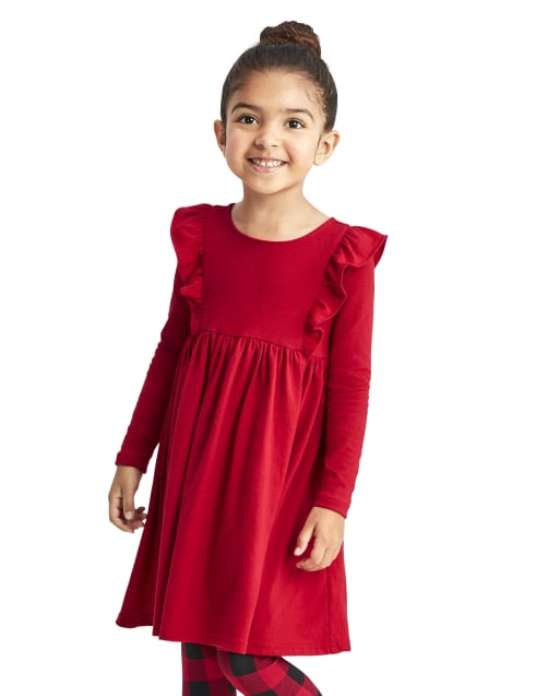 Baby And Toddler Girls Long Sleeve Knit Ruffle Skater Dress