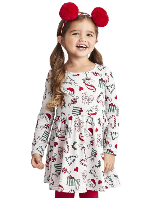 The Childrens Place Girls Baby and Toddler Candy Cane Skater Dress