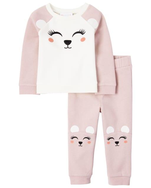 Conjunto de conjunto de oso polar para niñas pequeñas