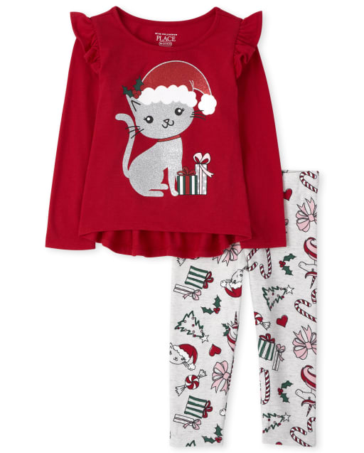 Toddler Girls Long Sleeve Christmas Cat Ruffle Top And Christmas Print Knit Leggings Outfit Set