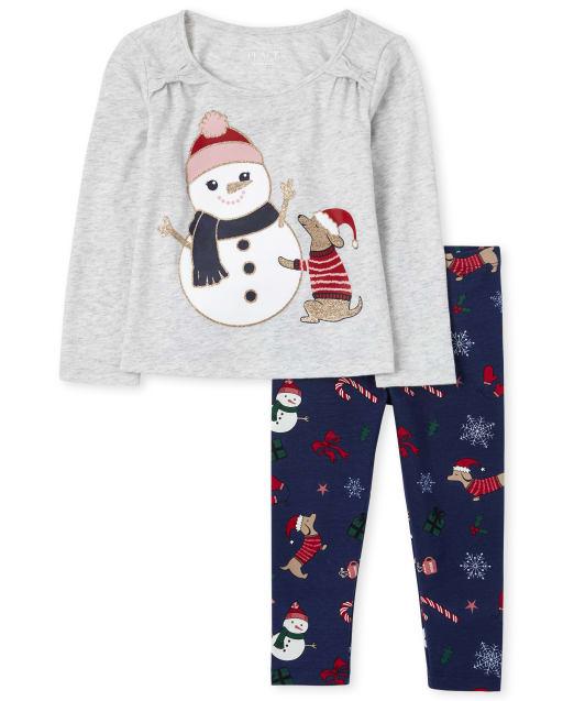 Conjunto de traje de muñeco de nieve y perro para niñas pequeñas