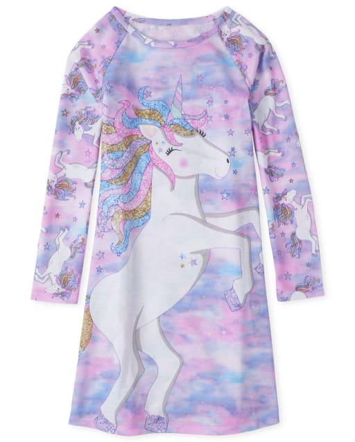 Girls Long Sleeve Unicorn Nightgown