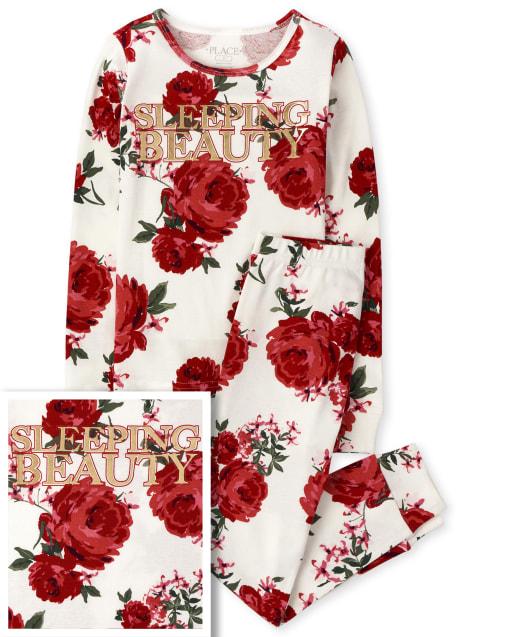 Niñas Mommy And Me Beauty Pijama De Algodón Ajustado A Juego Floral
