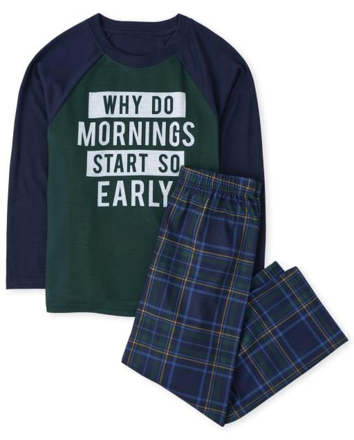Boys Long Sleeve 'Why Do Mornings Start So Early' Plaid Pajamas