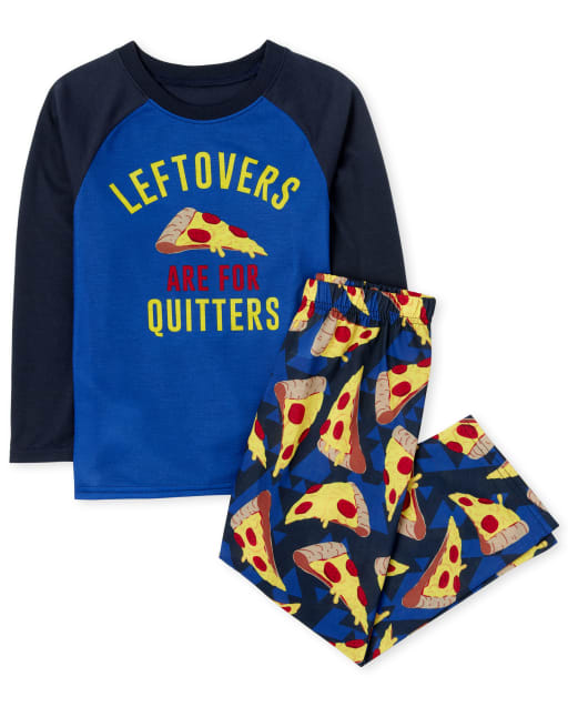 Boys Long Sleeve 'Leftovers Are For Quitters' Pizza Pajamas