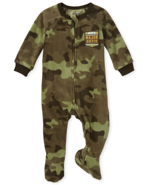 Baby And Toddler Boys Long Sleeve 'Mom's Major Cutie' Camo Fleece Footed One Piece Pajamas