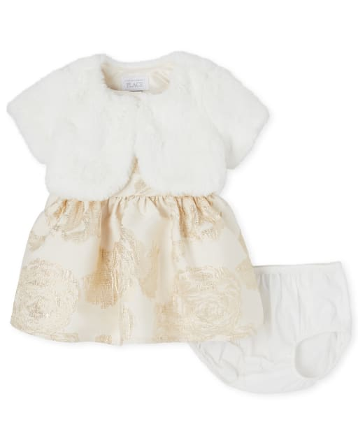 Conjunto de vestido de jacquard floral metálico para bebé niña