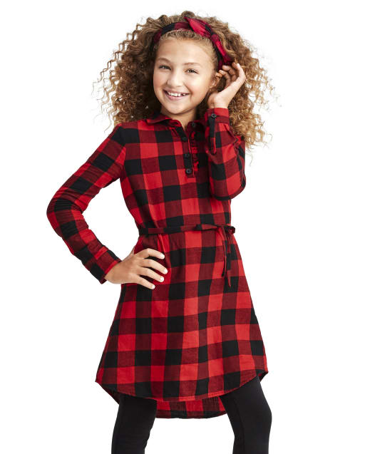 Girls Matching Family Long Sleeve Buffalo Plaid Twill Shirt Dress