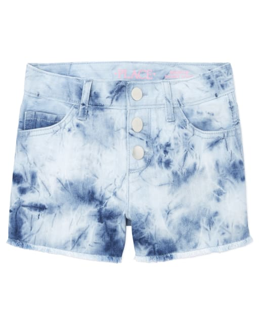 Girls Tie Dye Denim Shortie Shorts