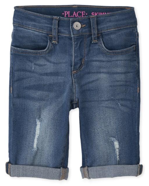 Pantalones cortos de mezclilla desgastados con puños enrollados para niñas
