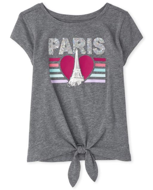 Girls Short Sleeve Graphic Tie Front Top