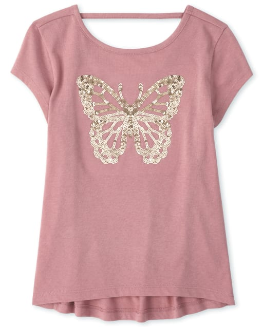 Girls Short Sleeve Graphic Cut Out Top