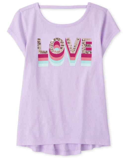 Girls Sequin Love Cut Out Top