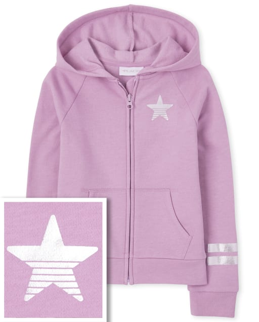 Girls Active Long Striped Sleeve Foil Graphic French Terry Zip Up Hoodie