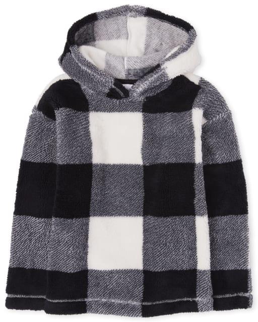 Sudadera con capucha de sherpa con estampado activo para niñas