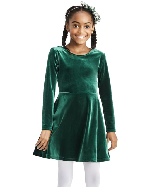 Girls Long Sleeve Velour Bow Back Dress