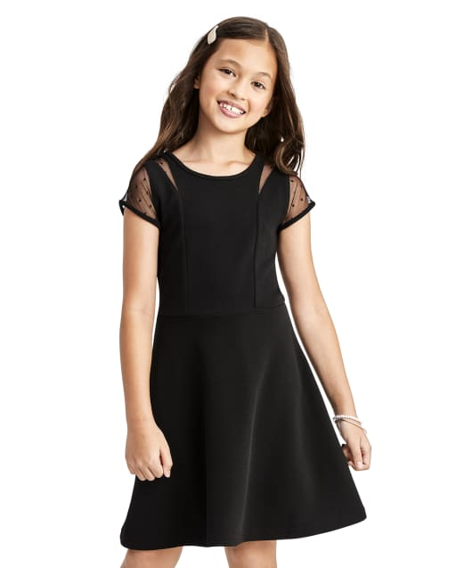 Vestido niña de jacquard elástico con lunares y malla
