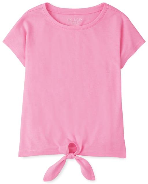 Girls Short Sleeve Tie Front Basic Layering Tee