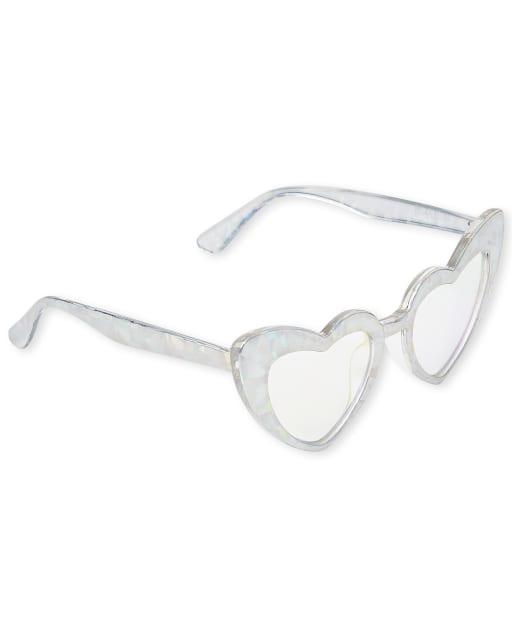 Girls Foil Heart Sunglasses