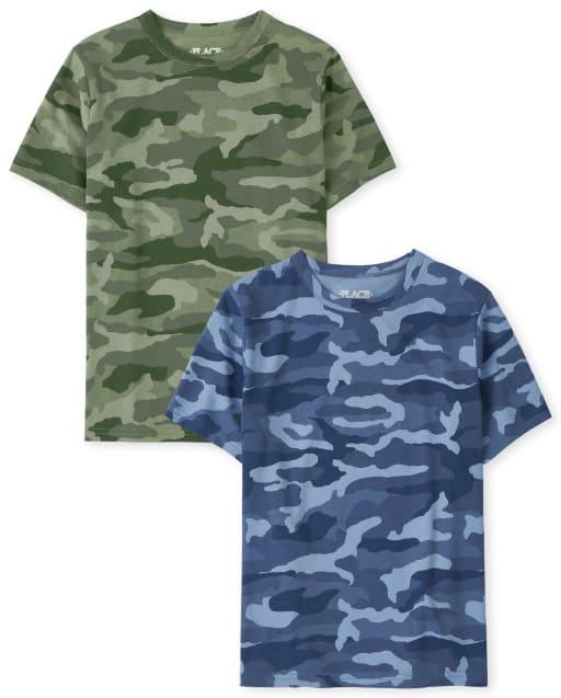 Pack de 2 camisetas de camuflaje de manga corta para niños