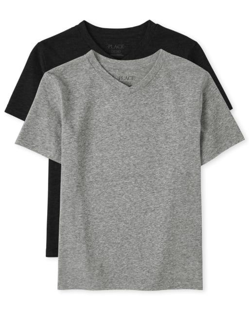 Pack de 2 camisetas de manga corta con cuello en V para niños