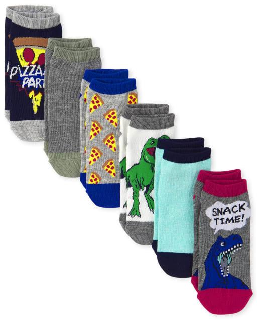 Pack de 6 calcetines tobilleros Dino Pizza para niños