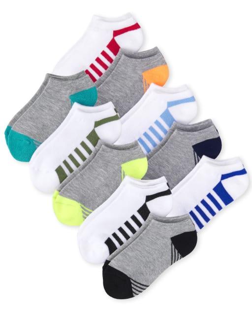 Pack de 10 pares de calcetines tobilleros acolchados a rayas para niños