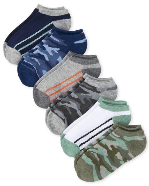 Pack de 6 calcetines tobilleros acolchados de camuflaje para niño