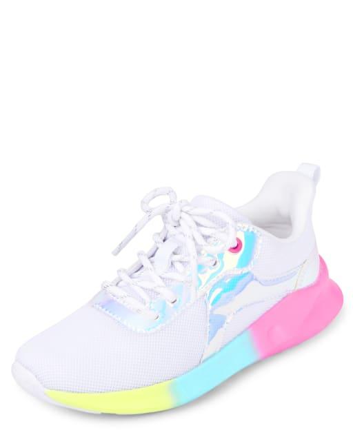 Zapatillas de running holográficas con arcoíris para niñas