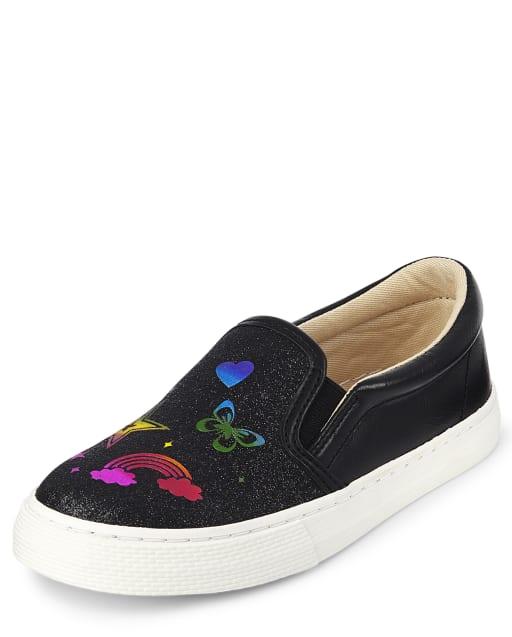 Zapatos deportivos sin cordones con diseño de arcoíris y purpurina para niñas