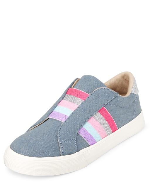 Zapatillas sin cordones de mezclilla a rayas con purpurina para niñas