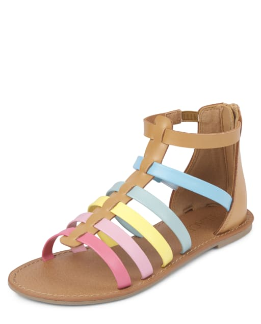 Sandalias de gladiador arcoíris para niñas