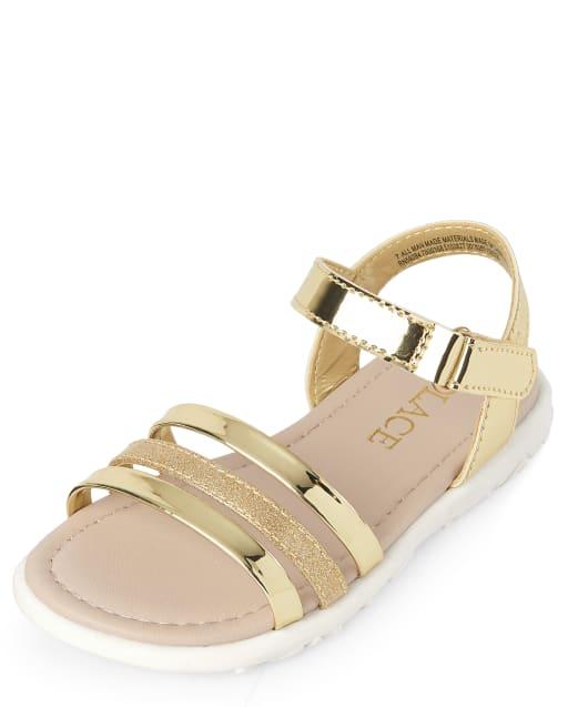 Sandalias con purpurina y metalizadas para niñas pequeñas
