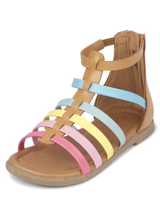 Sandalias de gladiador arcoíris para niñas pequeñas