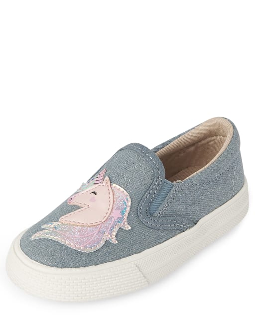 Zapatillas sin cordones de mezclilla con purpurina unicornio para niñas pequeñas