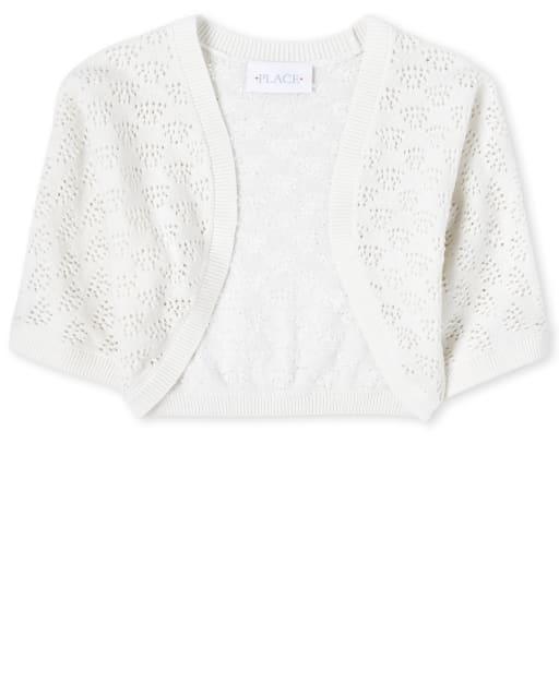 Girls Quarter Sleeve Cropped Open Front Sweater Shrug