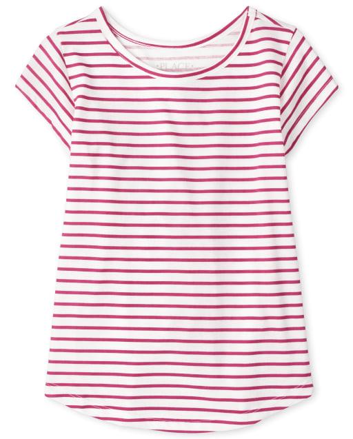 Girls Short Sleeve Striped Basic Layering Tee