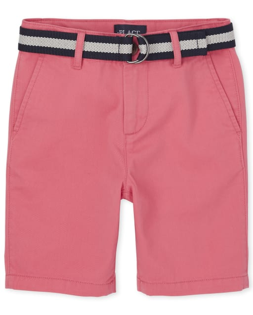 Boys Belted Woven Chino Shorts