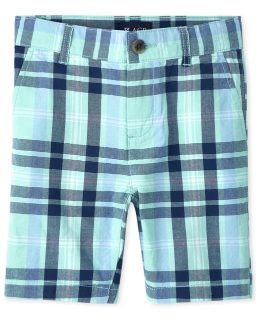 Boys Plaid Woven Chino Shorts