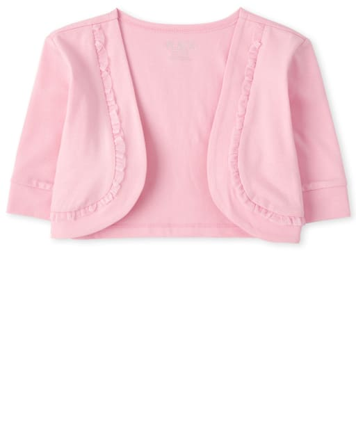 Girls Quarter Sleeve Mesh Ruffle Cropped Open Front Shrug