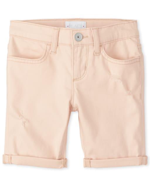Girls Distressed Twill Skimmer Shorts