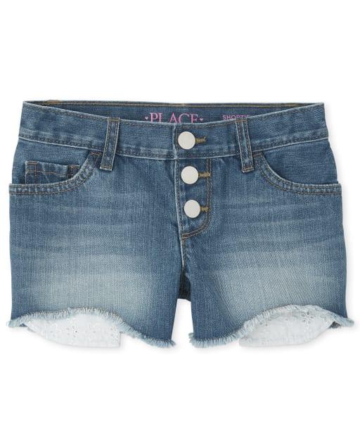 Girls Eyelet Pocket Denim Shortie Shorts
