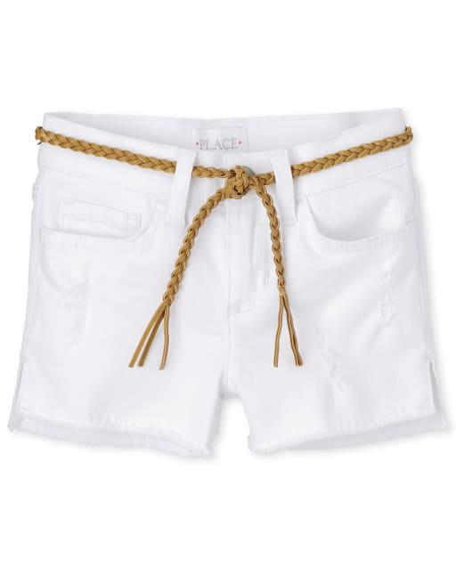 Girls Distressed Belted Denim Shortie Shorts