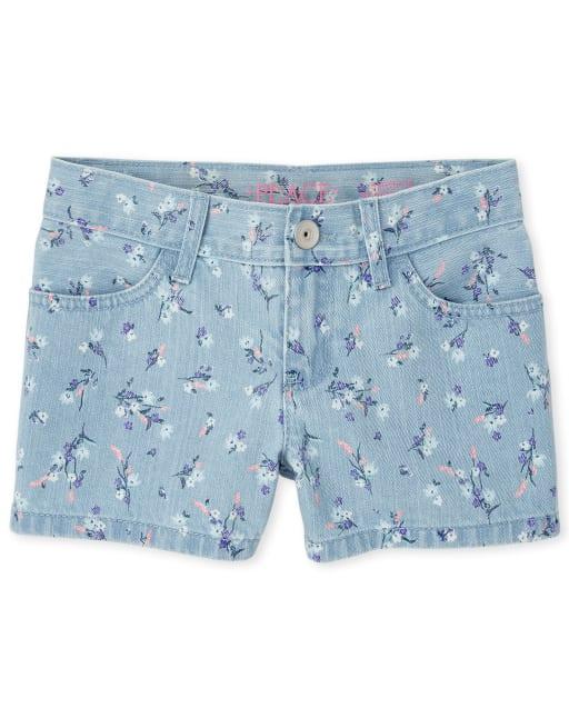 Girls Floral Print Twill Shortie Shorts