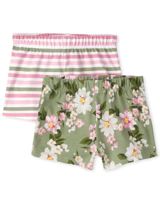 Toddler Girls Mix And Match Floral And Striped Knit Shorts 2-Pack